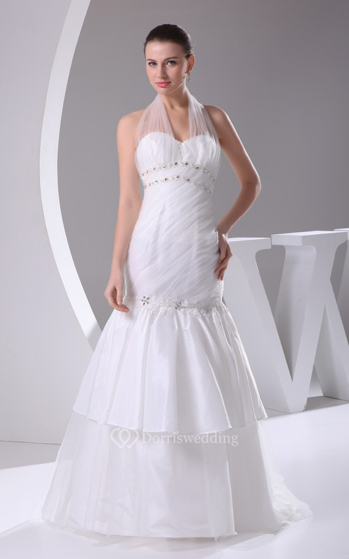 Ethereal A-Line Ruched Dress With Beading and Appliques