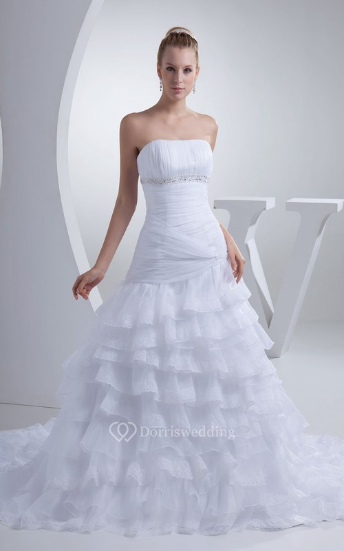 Noble Strapless Ruched A-Line Tiered A-Line Dress With Beading and Chapel Train
