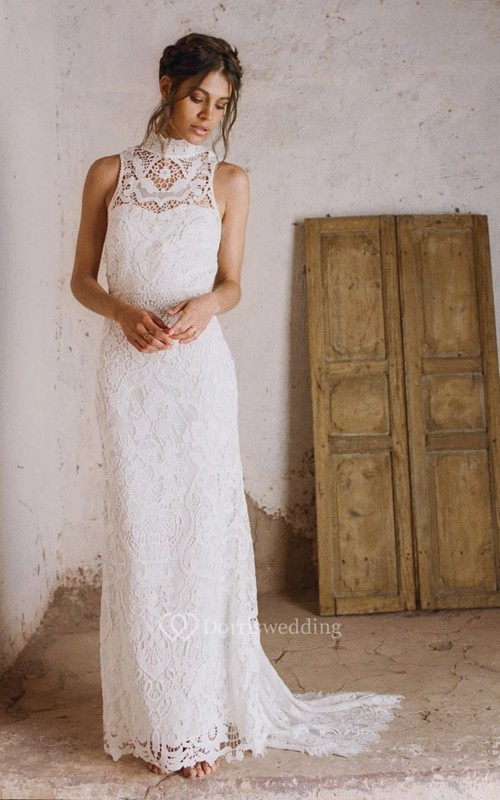Boho Lace Sheath High Neck Wedding Dress with Keyhole Back