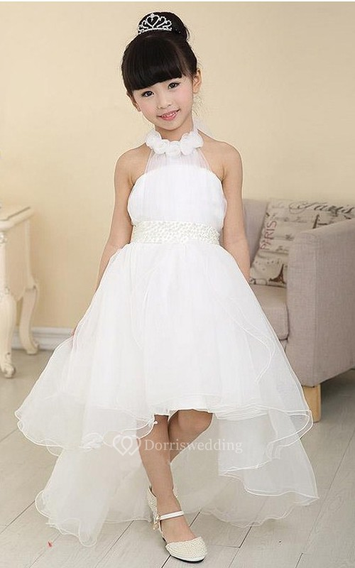 High-Low Tulle Halter Sleeveless Beading Flower Girl Dress