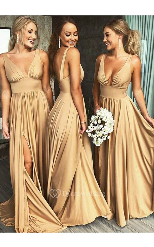 Plunging V-neck Sleeveless Empire Front Split Bridesmaid Dress With Pleats
