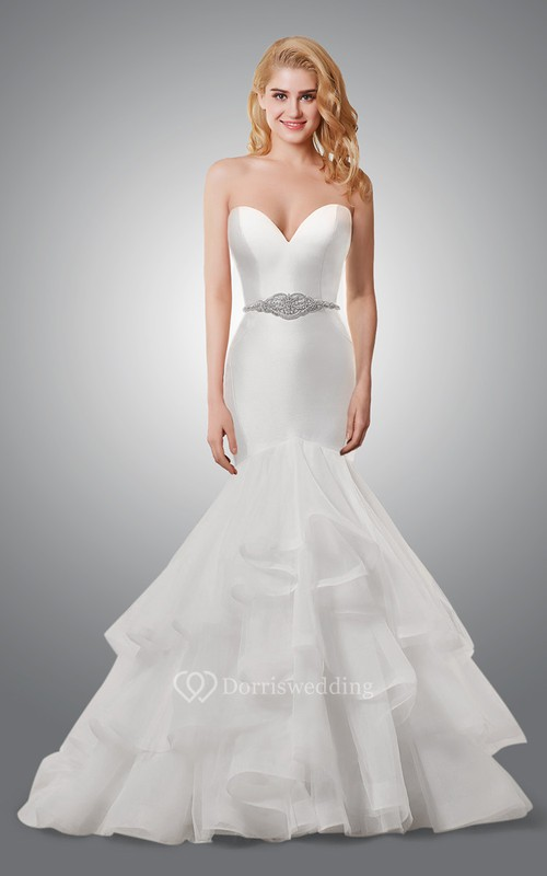 Sweetheart mermaid wedding dress with ruffled skirt for Mermaid wedding dresses under 500