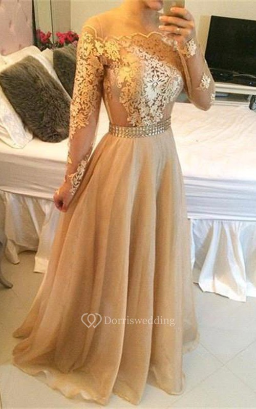 Stunning Long Sleeve A-Line Prom Dresses 2018 Long Women\'s Evening ...