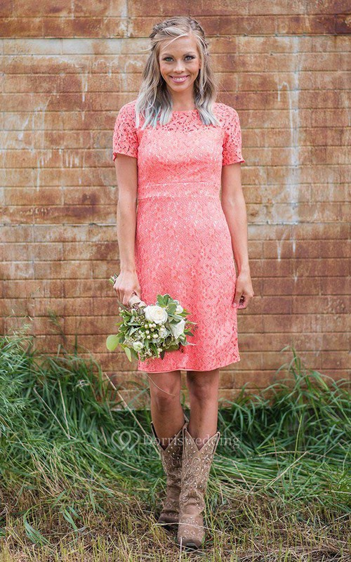 Casual Lace Short-sleeve Bridesmaid Dress with Zipper Back