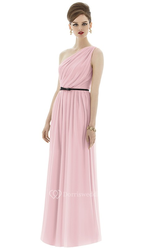 Long One-Shoulder Elegant Chiffon Dress With Bow Sash