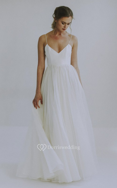 A-line Spaghetti Straps Sexy Wedding Dress With Tulle