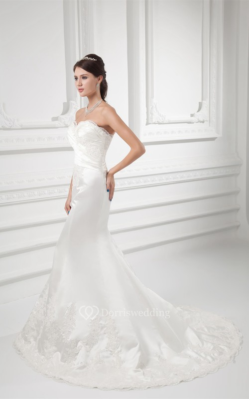 Captivating Sweetheart Satin Sleeveless Trumpet Wedding Dresses
