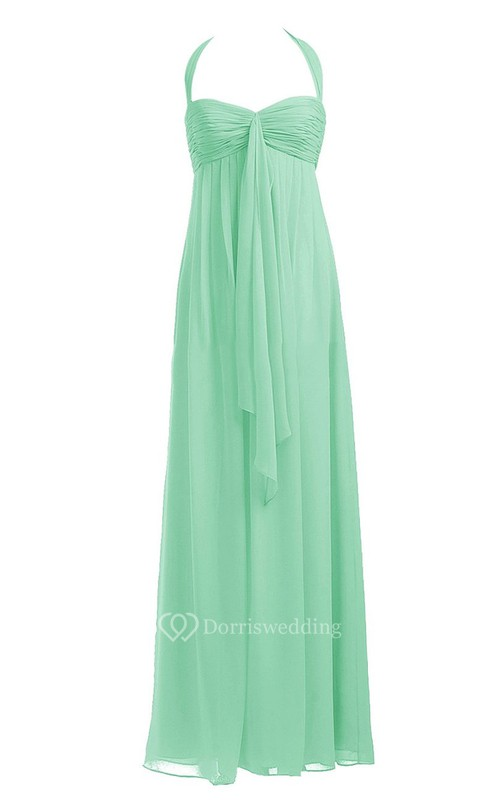 Elegant Halter Sweetheart Ruched Empire Gown