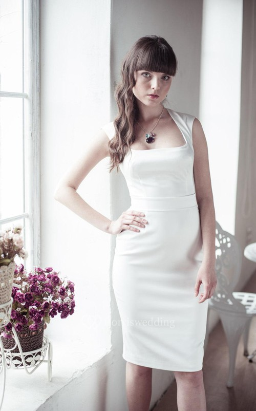 Sleeveless Knee Length Sheath Satin Dress With Square Neckline