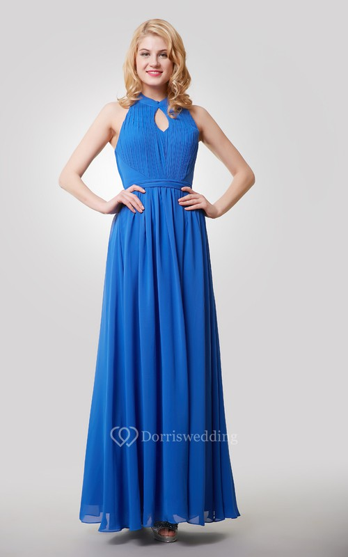 Floor Length A-Line Chiffon Dress With Halter and Keyhole