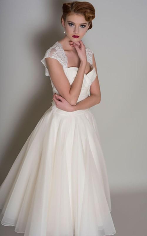 69205f7bbd24 A-Line Queen-Anne Tea-Length Lace Organza Wedding Dress - Dorris Wedding