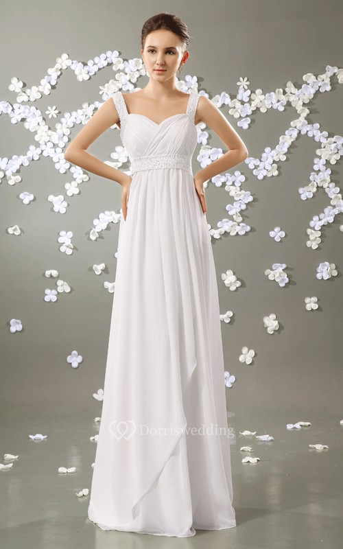 Sweetheart Empire Chiffon Dress With Beaded Straps