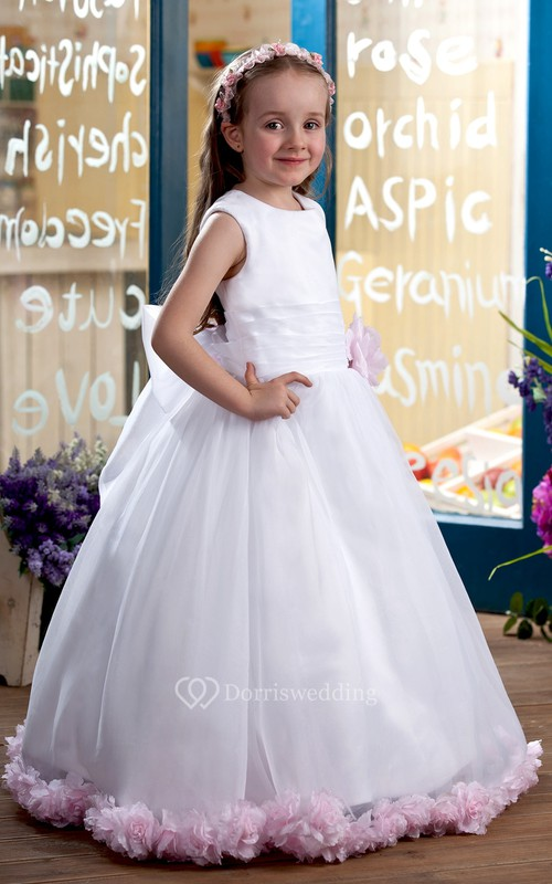 Lovely Sleeveless Ruched Flower Girl Dress With Bow