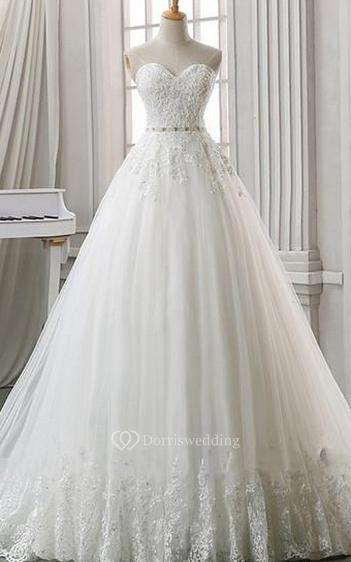 A-Line Ball Gown Empire Floor-Length Sweetheart Sleeveless Bell Empire Appliques Corset Back Lace Organza Dress