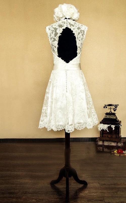 V Neck Sleeveless Keyhole Back Short Lace Wedding Dress