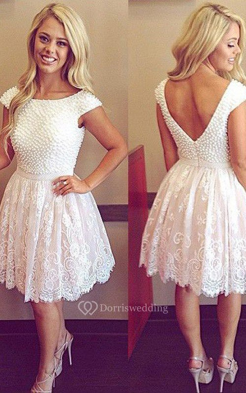 A-line Short Sleeve Lace Bateau Zipper Low-V Back Short Mini Homecoming Dress