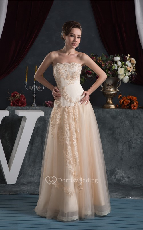 Strapless Maxi A-Line Tulle Overlay and Dress With Lace