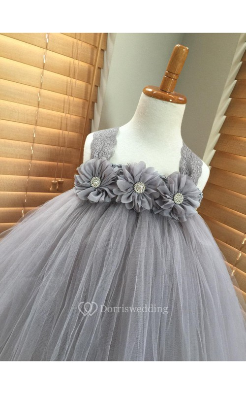 Lace Straps Empire Floral Bodice Tulle Ball Gown With Bow Sash