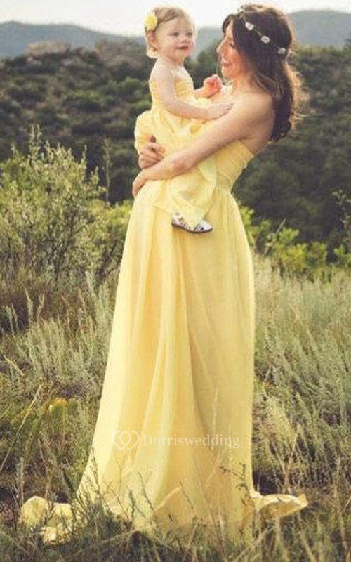Yellow Chiffon Jersey Gown Matching Maternity