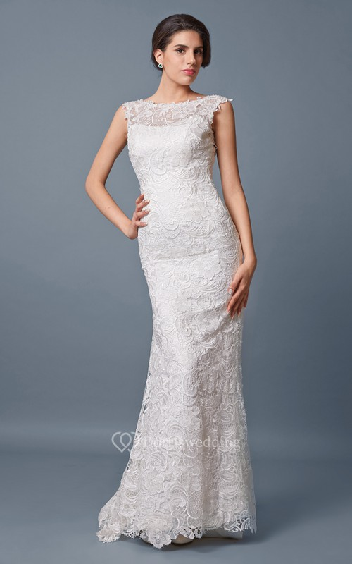 Romantic Off-shoulder Open Back Slim-line Lace and Charmeuse Wedding ...