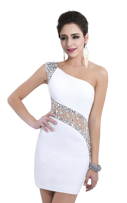 White Sexy Sequins Beading Cocktail Dresses One Shoulder Crystal See ...