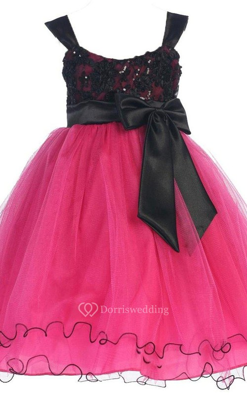 Sleeveless A-line Organza Dress With Straps and Bow