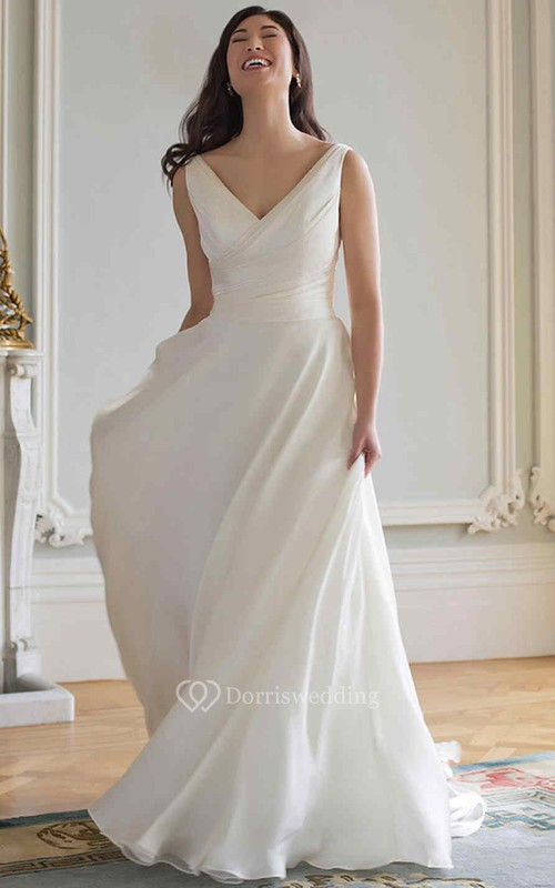 Sheath Long-Sleeveless V-Neck Chiffon Wedding Dress With Ruching