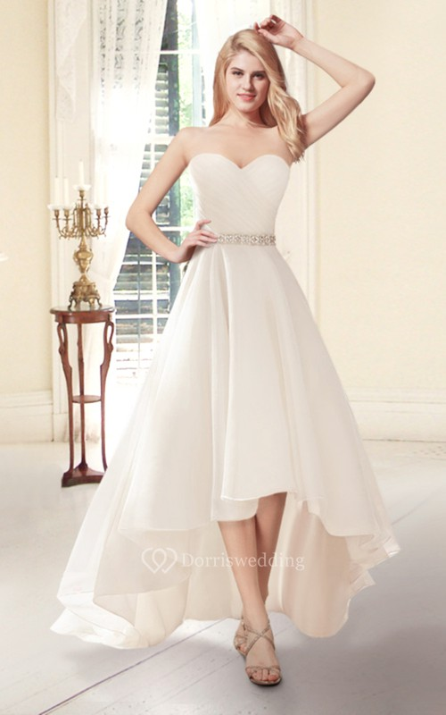 Sweetheart a line high low wedding dress dorris wedding for Wedding dress high low