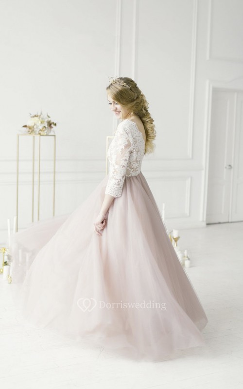 3/4 Sleeve Lace V-neck Adorable Tulle Wedding Dress