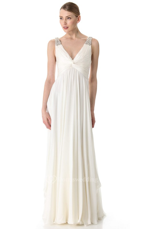 Long Deep-V Neckline Empire Chiffon Dress With Broad Straps