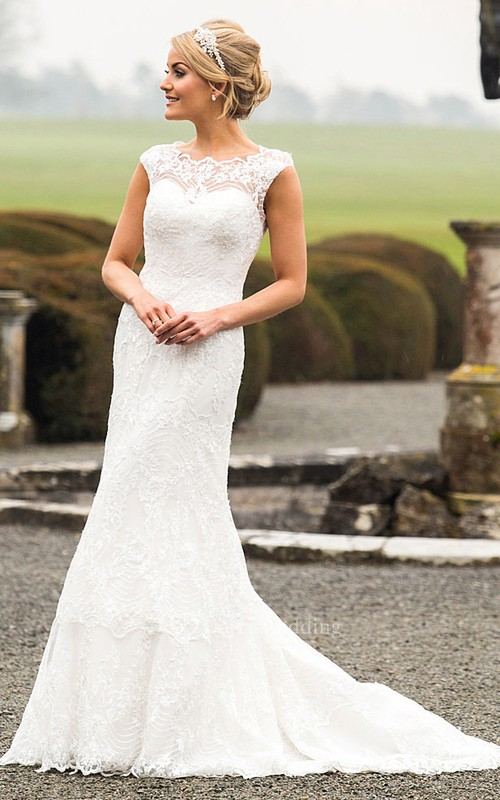 Scoop Long Appliqued Lace Wedding Dress With Sweep Train And Illusion