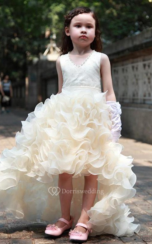 Flower Girl V-neck High Low Organza Dress With Ruffles