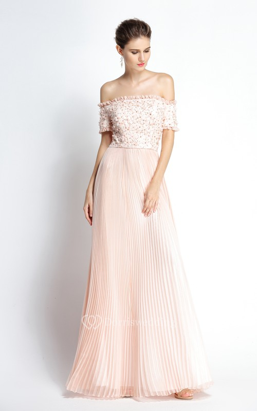 A-Line Floor-length Off-the-shoulder Chiffon Short Sleeve Prom Dress with Beading and Pleats
