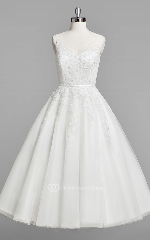 31e705ab9605 V-Neck Sleeveless A-Line Lace Tea-Length Wedding Dress - Dorris Wedding