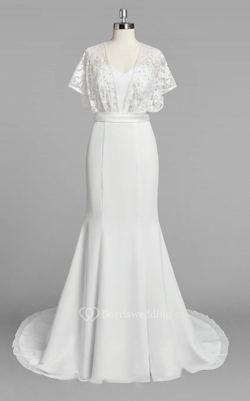 Chiffon Mermaid Wedding Dress With Lace Cape And Satin Sash Dorris