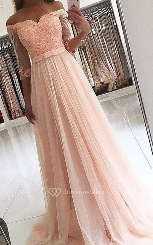 A-Line Lace Tulle Off-the-shoulder Long Sleeve Zipper Dress