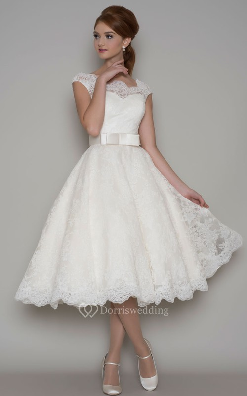 Tea-Length A-Line Cap Sleeve Square Neck Ribboned Lace Wedding Dress ...