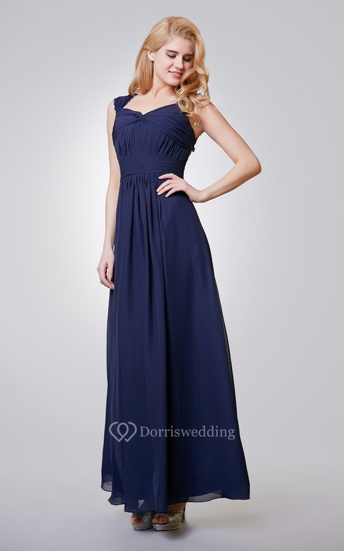A-Line Long Chiffon Ruched Dress With Key-hole