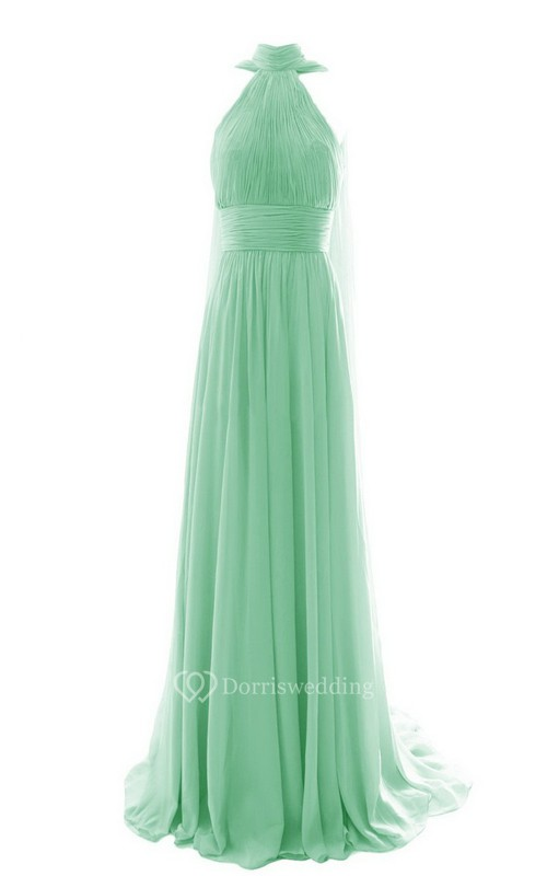 High Neck Pleated Chiffon A-line Gown With Cape