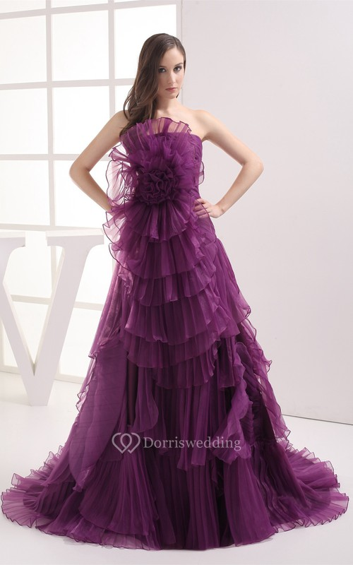 Floral A-Line Ruched Sweep Train and Gown With Tiers
