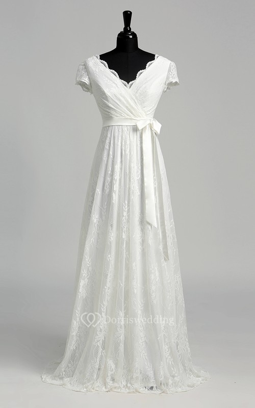 A-line Scalloped V-neck Cap Illusion Short Sleeve Floor-length Lace Wedding Dress