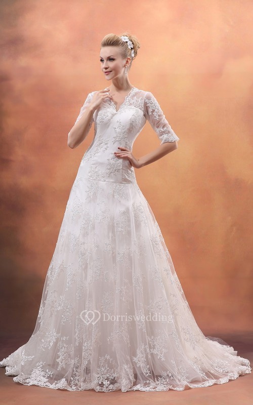 Half-Sleeve V-Neck Dress With Lace Appliques and Tulle Overlay