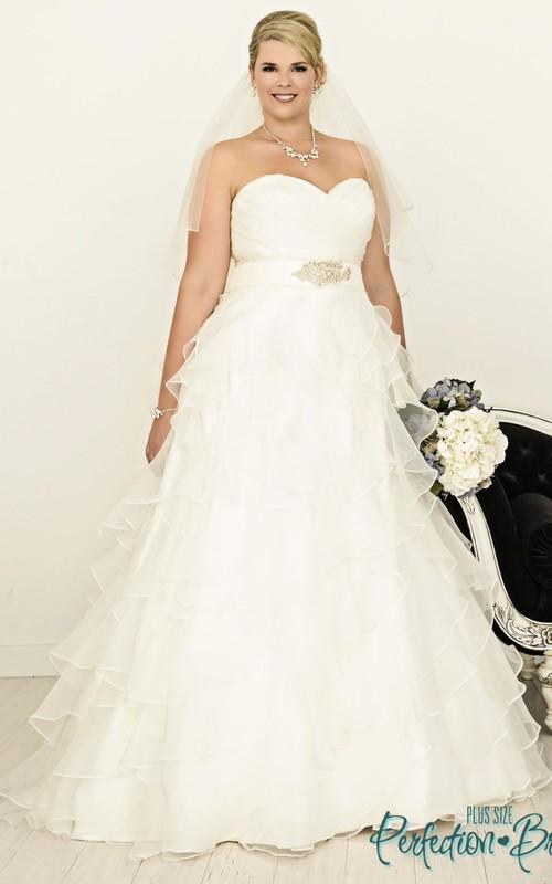 A Line Ruffled Sweetheart Floor Length Organza Plus Size Wedding