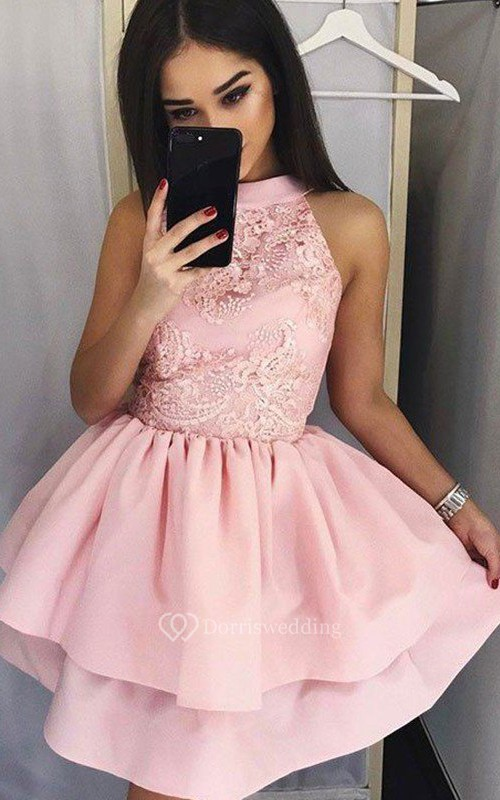 A-line Ball Gown Sleeveless Satin Lace High Neck Short Mini Homecoming Dress
