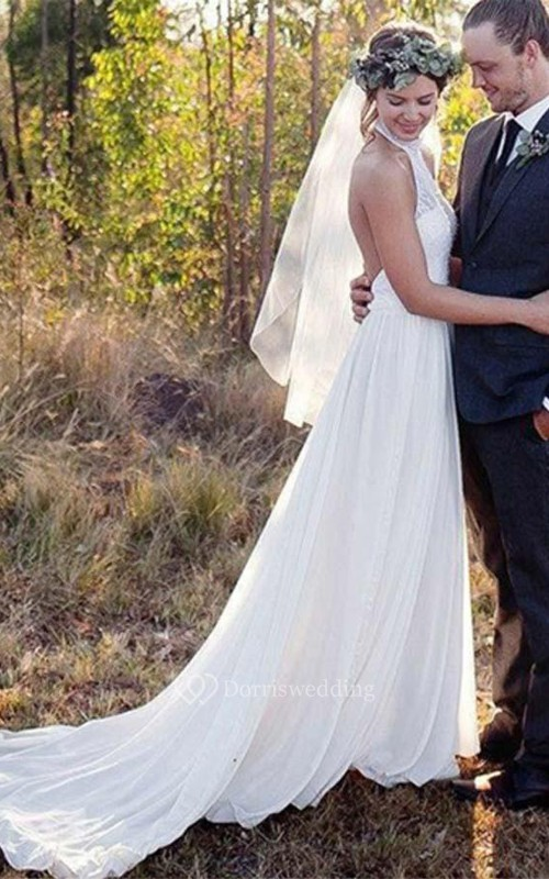 Backless Halter Lace A Line High Neck Chiffon Wedding Dress Dorris