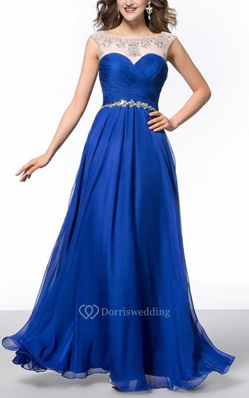 Elegant A-Line Floor-Length Sheer Neck Prom Dress
