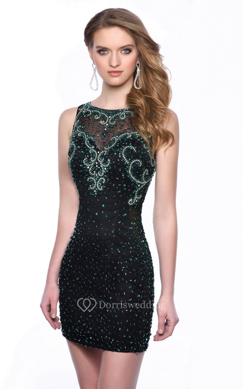 Sequined Bateau Neck Sleeveless Short Form-Fitted Homecoming Dress With Illusion Style