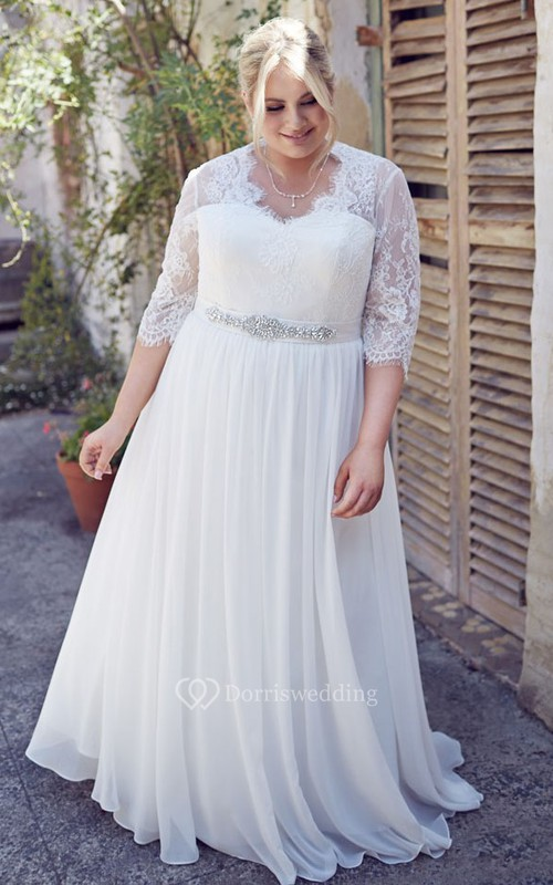 Jeweled Half-Sleeve V-Neck Chiffon Plus Size Wedding Dress With Pleats