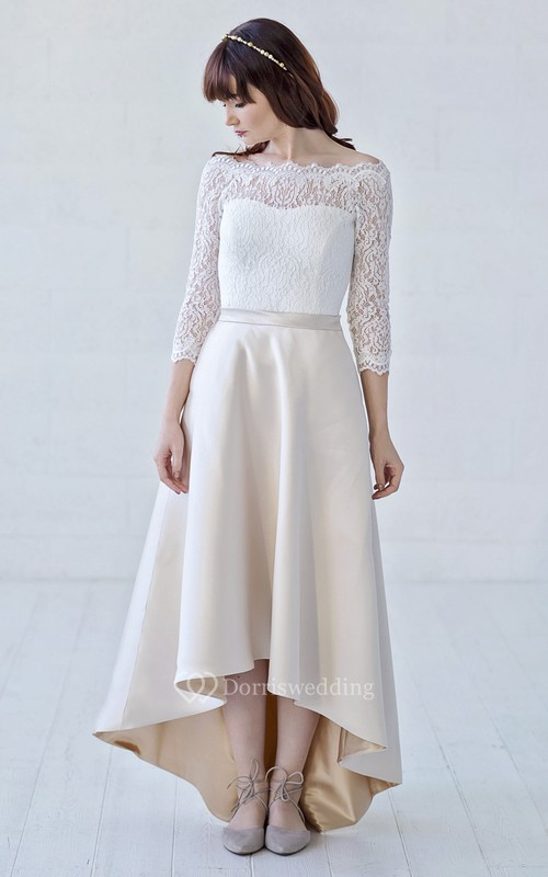 3/4 Illusion Sleeve High-low Off-the-shoulder Lace And Satin With Button Back Wedding Dress