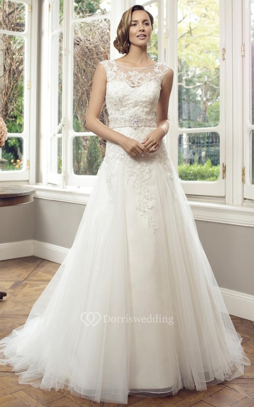 A-Line Appliqued Sleeveless Long Bateau Lace&Tulle Wedding Dress With Waist Jewellery And Pleats